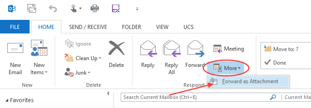 Send as attachment in Outlook for Windows